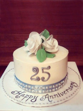 Floral 25th Anniversary Cake