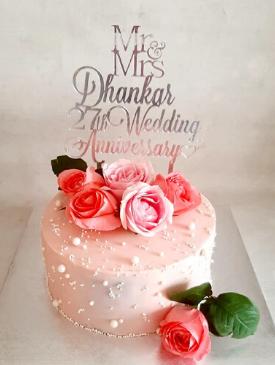 Pretty Pink Anniversary Cake