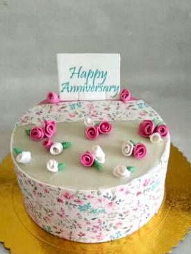 Edible Print Floral Anniversary Cake