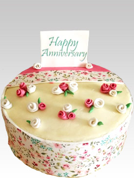 Floral Print Anniversary Cake