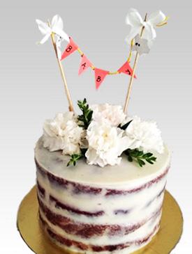 Fresh Flowers Baby Shower Cake