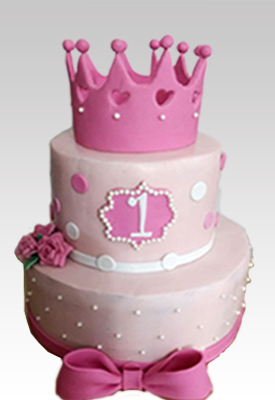 2 Tier First Birthday Tiara Cake