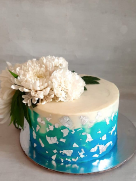Floral Cake with Edible Silver Leaf