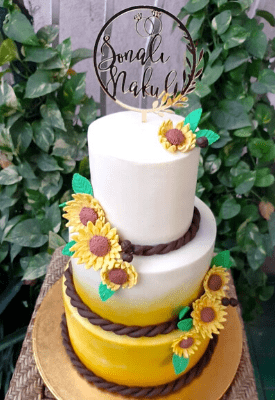 Three Tier Sunflower Wedding Cake