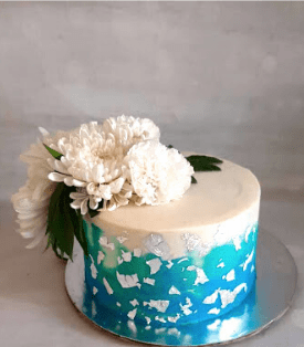 Edible Silver Leaf Engagement Cake