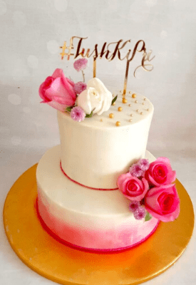 Floral Cake with Gold Acrylic Topper