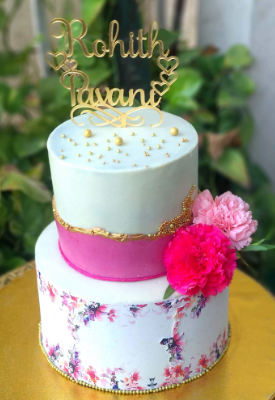 Edible Print Floral Reception Cake