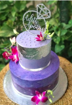 Lavender & Silver Engagement Cake