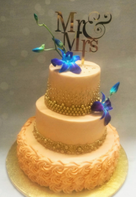 Peach & Gold Reception Cake
