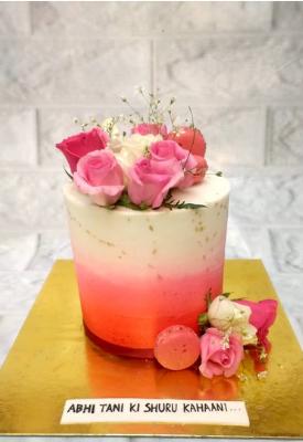 Single Tier Floral Engagement Cake