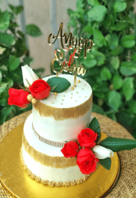 White & Gold Floral Wedding Cake