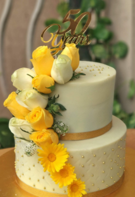 Yellow Roses Engagement Cake