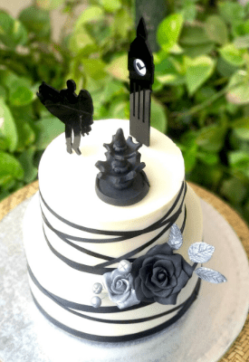 Silver & Black Engagement Cake