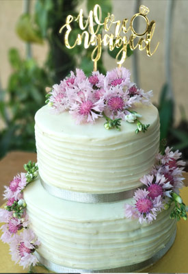 Fresh Flowers Engagement Cake