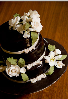 Ivory Roses & Orchids Wedding Cake