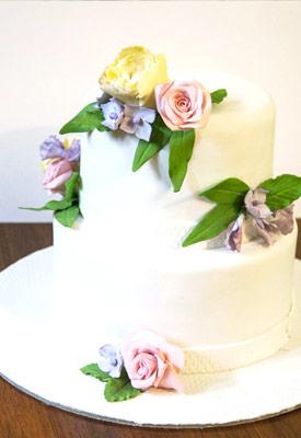 Pastel Floral Engagement Cake