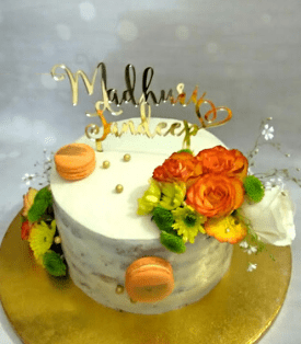 Rustic Fresh Flowers Wedding Cake