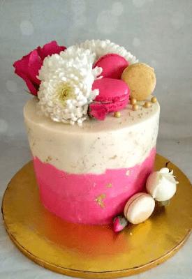 Pink & White Roka Cake