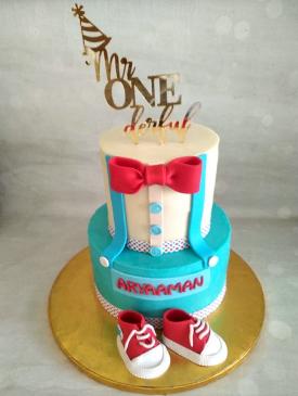 Mr. Onederful 2 Tier First Birthday Cake