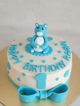 Blue Teddy 1st Birthday Cake