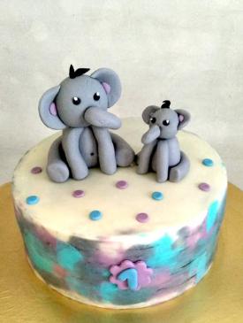 Cute Elephants 1st Birthday Cake