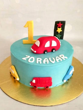 Car Theme 1st Birthday Cake