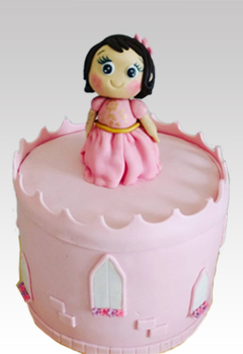 Princess in a Castle 1st Birthday Cake