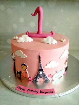 Parisian Theme 1st Birthday Cake