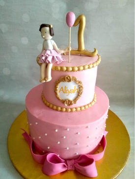 Two Tier Pink & Gold 1st Birthday Cake