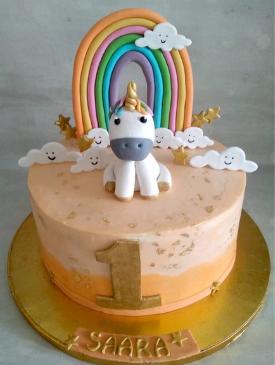 Unicorn 1st Birthday Cake